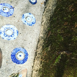 old ceramics in the concrete